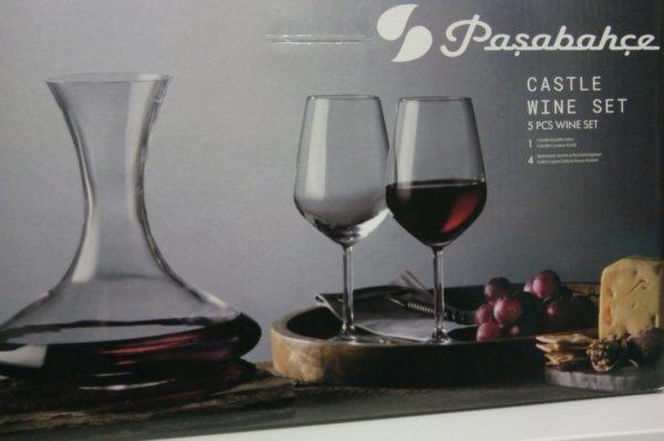 Set 4 pahare de vin 490 ml + decantor 1,25 litri – Pasabahce