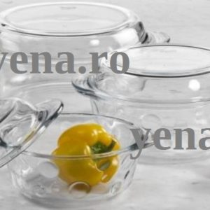 Set 3 vase yena cu capac – model