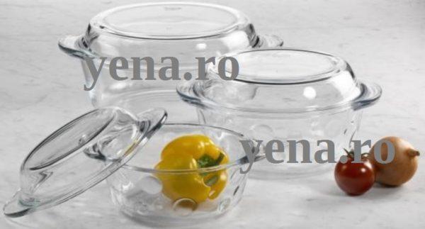 Set 3 vase yena cu capac – model