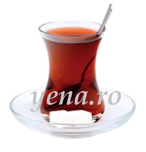 Set 6 pahare ceai turcesc din sticla 125 ml + 6 farfurii, Paşabahçe Turcia