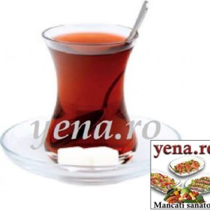 Set 6 pahare ceai turcesc 160 ml + 6 farfurii din sticla, Paşabahçe