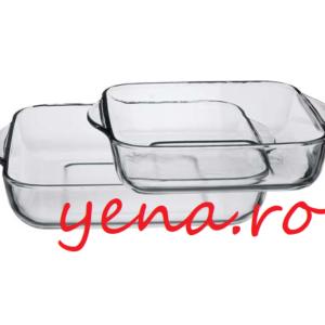 Set 2 tavi yena patrate Borcam - 3,5 litri + 2 litri Dimensiune tava cu toarte 3,5 litri - 282,5 x 317,5 x 60 mm Dimensiune tava cu toarte 2 litri - 256 x 220 x 59 mm