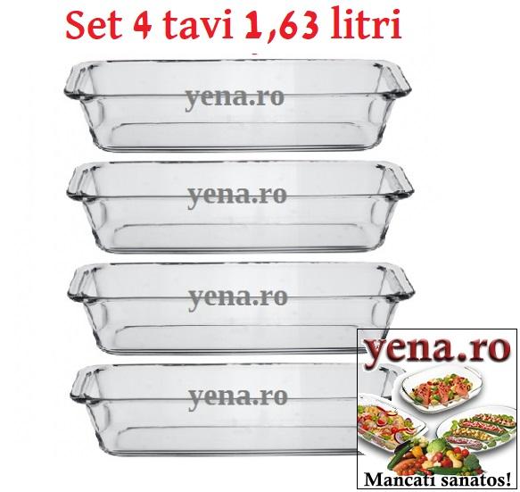 Set 4 tavi cozonac yena 1,63 litri, dimensiune tava cozonac din yena 31 x 12,5 x 7 cm - yena.ro