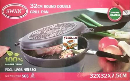 Tigaie dubla Grill rotunda, invelis interior antiaderent granit 32 x 7,5 cm, inchidere ermetica - yena.ro